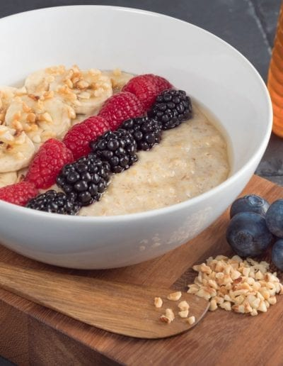 Porridge with Berries, Banana and Hazlenuts
